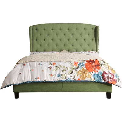 Nielsen Upholstered Panel Bed Upholstery: Natural Olive Green, Size: Queen