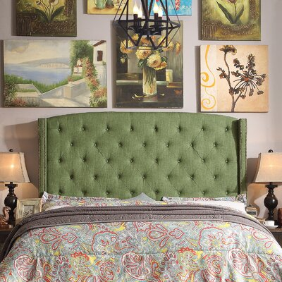 Noblesville Upholstered Wingback Headboard Upholstery: Natural Olive, Size: Queen