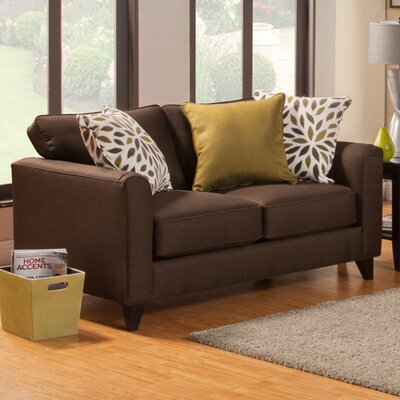 Amberley Contemporary Flared Arm Loveseat Upholstery: Turquoise