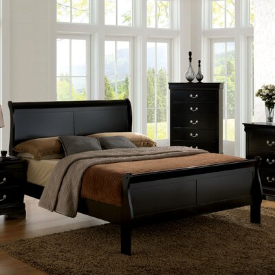 Alvarez Sleigh Bed Finish: Black, Size: King