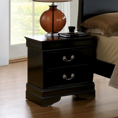 Alvarez 2 Drawer Nightstand Finish: Black