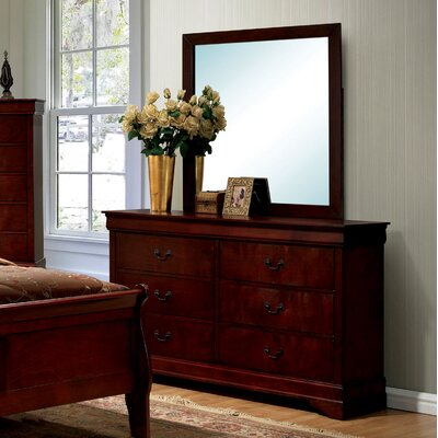 Alvarez 6 Drawer Double Dresser with Mirror Color: Cherry