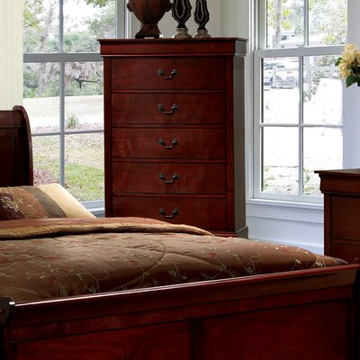Alvarez 5 Drawer Chest Color: Cherry