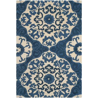 Baumgartner Hand-Tufted Blue/Ivory Area Rug Rug Size: Rectangle 4 x 6