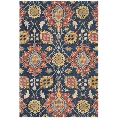 Baumgartner Hand-Tufted Navy/Orange/Yellow Area Rug Rug Size: 4 x 6
