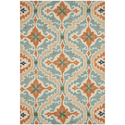 Agustine Hand-Tufted Blue/Beige/Brown Area Rug Rug Size: 6 x 9