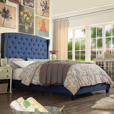 Destiny Upholstered Panel Bed Upholstery: Classic Navy, Size: Queen