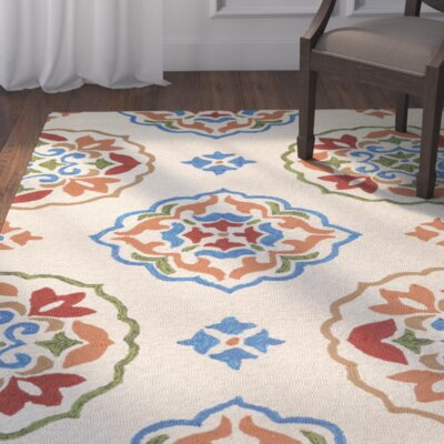 Union Hand-Hooked Cream/Red Indoor/Outdoor Area Rug Rug Size: 8 x 11