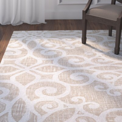 Lissette Hand-Woven Cream/Taupe Area Rug Rug Size: Rectangle 3'4