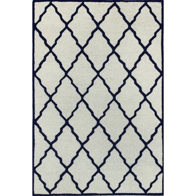 Amber Hand-Tufted Wool Ivory/Navy Area Rug