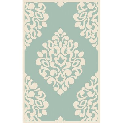 Floret Hand-Loomed Green/Beige Area Rug Rug Size: Rectangle 9 x 12