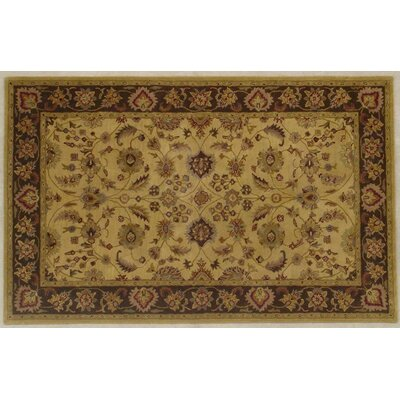 Cardwell Hand-Tufted Wool Gold/Brown Area Rug COLOR: Gold / Brown, Rug Size: Round 6