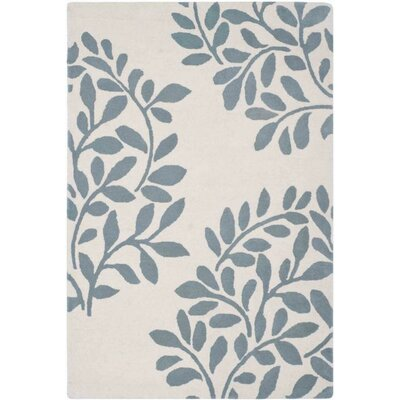 Leaf Stamp Hand-Loomed Tan/Blue Area Rug Rug Size: Round 4