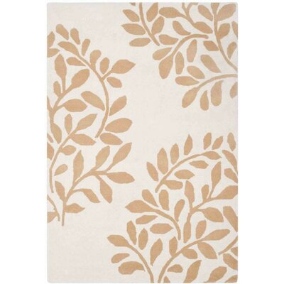 Leaf Stamp Hand-Loomed Tan/Brown Area Rug Rug Size: Round 4