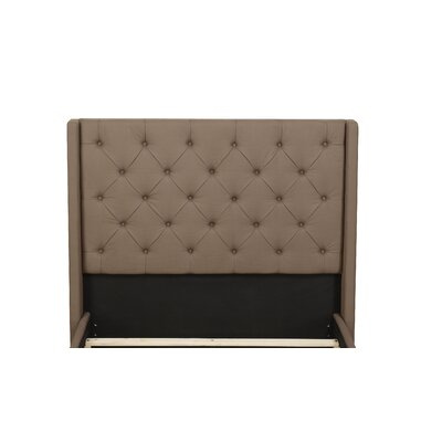 Basco Upholstered Wingback Headboard Upholstery: Taupe, Size: Queen