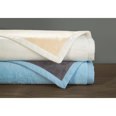 Blumenthal Reversible Cotton Blanket Size: King, Color: Cream/Ecru