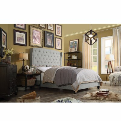 Destiny Upholstered Panel Bed Upholstery: Gray, Size: Eastern King
