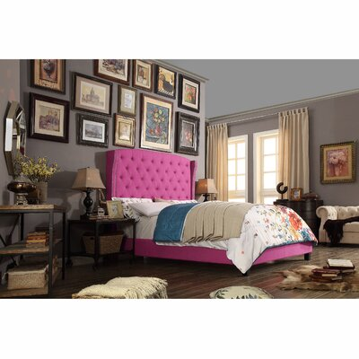 Destiny Upholstered Panel Bed Upholstery: Magenta Pink, Size: Queen