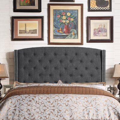 Destiny Upholstered Wingback Headboard Upholstery: Charcoal, Size: Queen