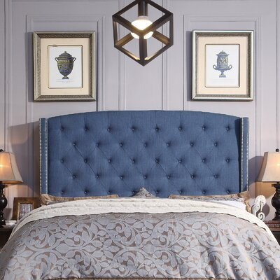 Destiny Upholstered Wingback Headboard Upholstery: Classic Navy, Size: Queen