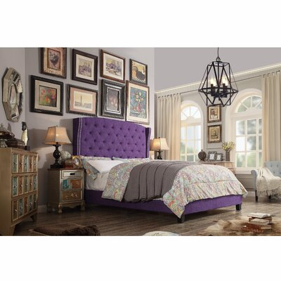 Destiny Upholstered Panel Bed Upholstery: Radiant Violet, Size: Queen