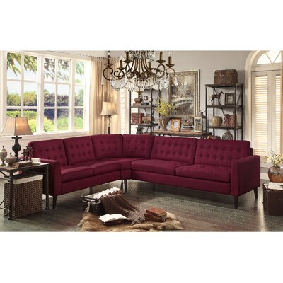 Starner Curved Shape Sectional Upholstery: French Burgundy