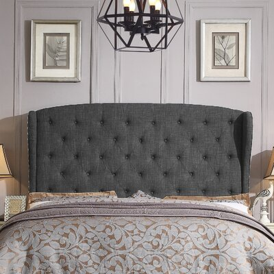 Nielsen Upholstered Wingback Headboard Upholstery: Charcoal, Size: King