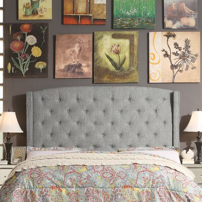 Destiny Upholstered Wingback Headboard Upholstery: Gray, Size: Full