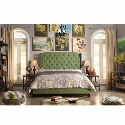 Destiny Upholstered Panel Bed Upholstery: Natural Olive Green, Size: Queen