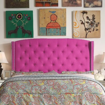 Destiny Upholstered Wingback Headboard Upholstery: Magenta Pink, Size: Queen