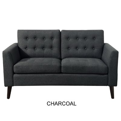 Starner Tufted Loveseat Upholstery: Charcoal