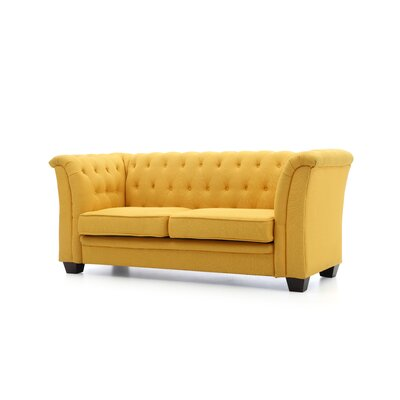 Tignor Tufted Chesterfield Loveseat Finish: Yellow