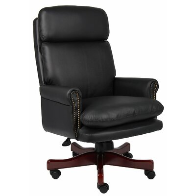 Norden High-Back Leather Executive Chair Upholstery: Black