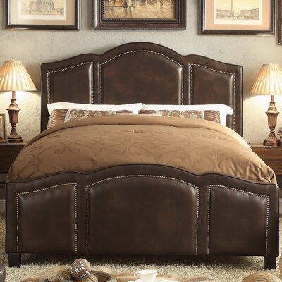 Niagara Queen Upholstered Panel Bed Upholstery: Linen- Espresso