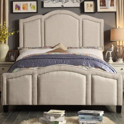 Niagara Queen Upholstered Panel Bed Color: Linen- Beige