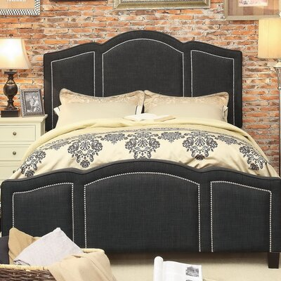 Niagara Queen Upholstered Panel Bed Upholstery: Linen- Charcoal