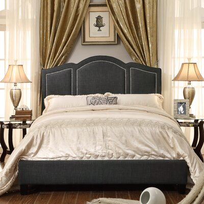 Niagara Queen Upholstered Panel Bed Color: Fabric - Charcoal