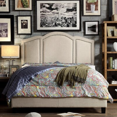 Niagara Queen Upholstered Panel Bed Upholstery: Fabric - Beige