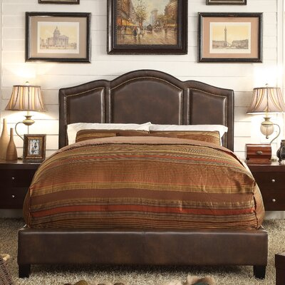 Niagara Queen Upholstered Panel Bed Color: Leather - Espresso