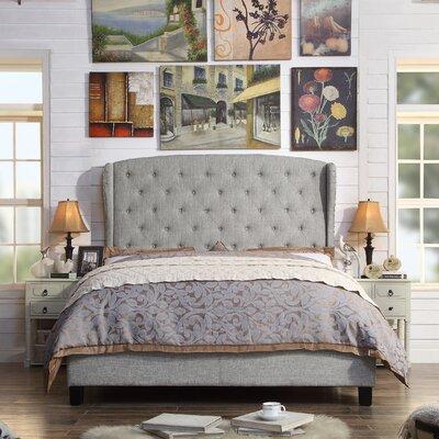Nielsen Upholstered Panel Bed Upholstery: Grey, Size: King