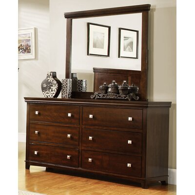 Buffalo 6 Drawer Dresser Color: Brown Cherry