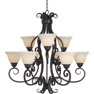 Amelia 9-Light Shaded Chandelier Finish: Oil Rubbed Bronze