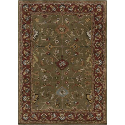 Bartz Green/Red Area Rug Rug Size: 7 x 10