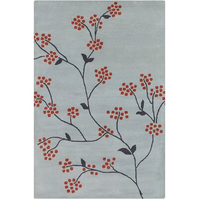 Baker Hand Tufted Wool Grey/Red Area Rug