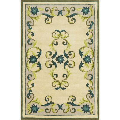 Baker Hand Tufted Wool Cream/Teal Blue Area Rug