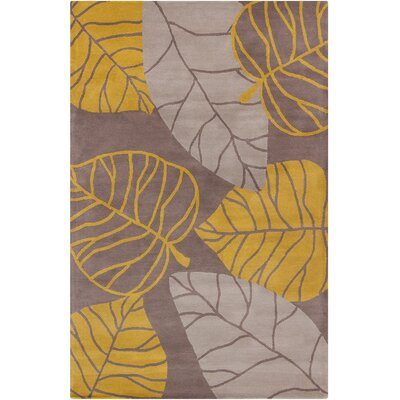 Baker Hand Tufted Wool Gray/Gold Area Rug Rug Size: 5 x 76