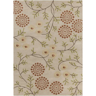 Boise Hand Tufted Rectangle Contemporary Cream/Orange Area Rug Rug Size: 7 x 10