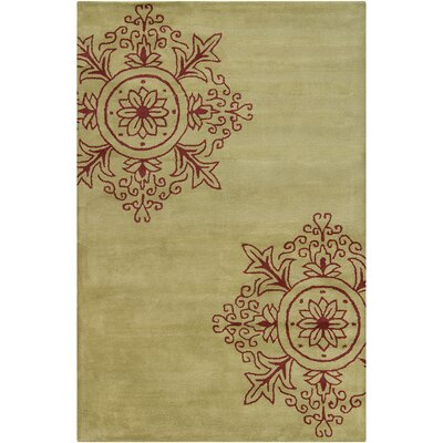 Baker Hand Tufted Wool Green/Burgundy Area Rug Rug Size: 5 x 76
