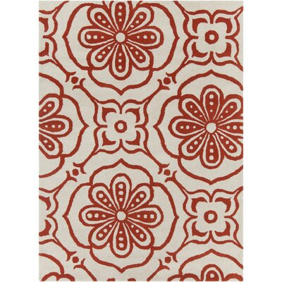 Baker Hand Tufted Wool Cream/Red Area Rug Rug Size: 8 x 10