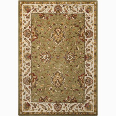 Bartz Green/Tan Kashan Area Rug Rug Size: Rectangle 5 x 76